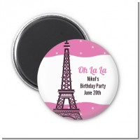 Pink Poodle in Paris - Personalized Baby Shower Magnet Favors