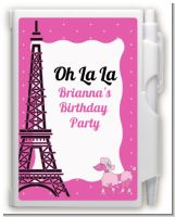 Pink Poodle in Paris - Baby Shower Personalized Notebook Favor