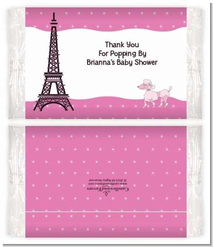 Pink Poodle in Paris - Personalized Popcorn Wrapper Baby Shower Favors