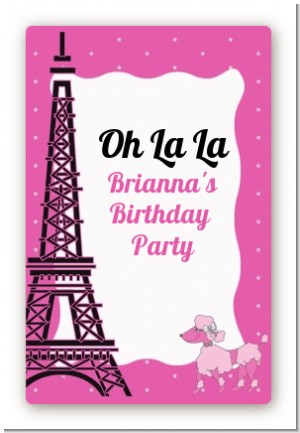 Pink Poodle in Paris - Custom Large Rectangle Baby Shower Sticker/Labels