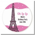 Pink Poodle in Paris - Round Personalized Birthday Party Sticker Labels thumbnail