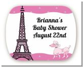 Pink Poodle in Paris - Personalized Baby Shower Rounded Corner Stickers