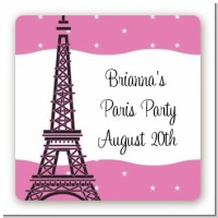 Pink Poodle in Paris - Square Personalized Baby Shower Sticker Labels