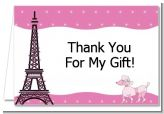 Pink Poodle in Paris - Baby Shower Thank You Cards