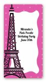 Pink Poodle in Paris - Custom Rectangle Birthday Party Sticker/Labels