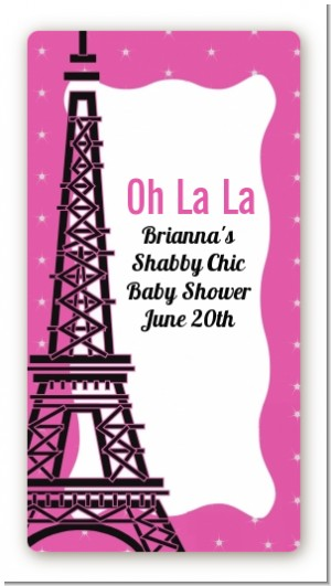 Pink Poodle in Paris - Custom Rectangle Baby Shower Sticker/Labels