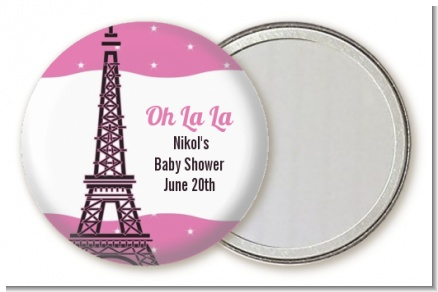 Pink Poodle in Paris - Personalized Baby Shower Pocket Mirror Favors