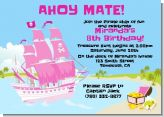 Pirate Ship Girl - Birthday Party Invitations