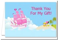 Pirate Ship Girl - Birthday Party Thank You Cards