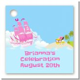 Pirate Ship Girl - Personalized Birthday Party Card Stock Favor Tags