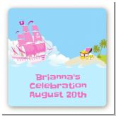 Pirate Ship Girl - Square Personalized Birthday Party Sticker Labels
