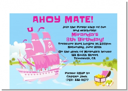 Pirate Ship Girl - Birthday Party Petite Invitations