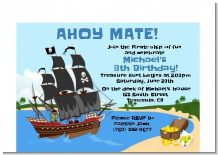 Pirate Ship - Birthday Party Petite Invitations