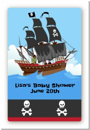 Pirate Ship - Custom Large Rectangle Birthday Party Sticker/Labels