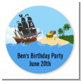 Pirate Ship - Round Personalized Birthday Party Sticker Labels thumbnail