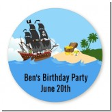 Pirate Ship - Round Personalized Birthday Party Sticker Labels