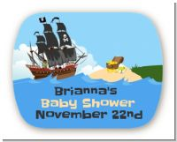 Pirate Ship - Personalized Baby Shower Rounded Corner Stickers