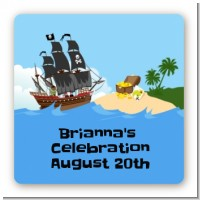Pirate Ship - Square Personalized Baby Shower Sticker Labels