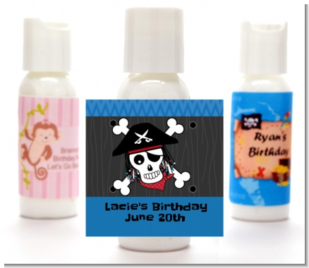 Pirate Skull - Personalized Birthday Party Lotion Favors