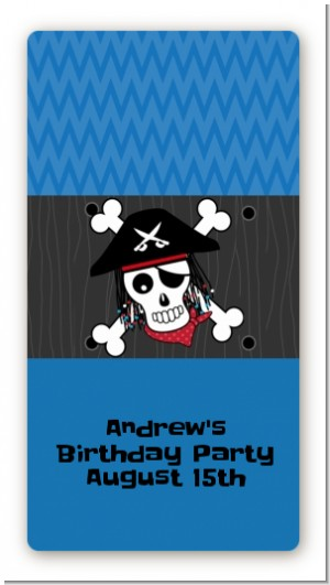 Pirate Skull - Custom Rectangle Birthday Party Sticker/Labels