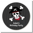 Pirate Skull - Round Personalized Birthday Party Sticker Labels thumbnail