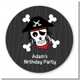 Pirate Skull - Round Personalized Birthday Party Sticker Labels