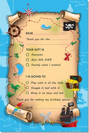 Pirate Treasure Map - Birthday Party Fill In Thank You Cards