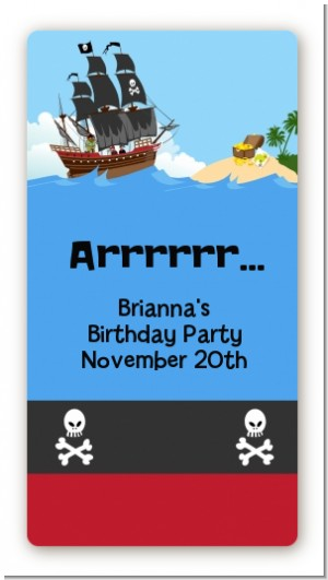 Pirate Ship - Custom Rectangle Birthday Party Sticker/Labels