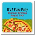 Pizza Party - Square Personalized Birthday Party Sticker Labels thumbnail