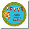 Pizza Party - Round Personalized Birthday Party Sticker Labels thumbnail