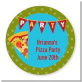 Pizza Party - Round Personalized Birthday Party Sticker Labels