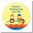Playground - Round Personalized Birthday Party Sticker Labels thumbnail