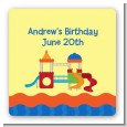 Playground - Square Personalized Birthday Party Sticker Labels thumbnail