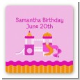 Playground Girl - Square Personalized Birthday Party Sticker Labels thumbnail