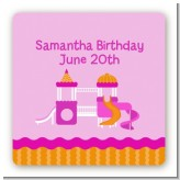 Playground Girl - Square Personalized Birthday Party Sticker Labels