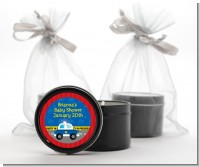 Police Car - Baby Shower Black Candle Tin Favors