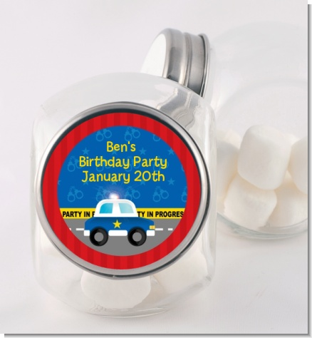 Police Car - Personalized Baby Shower Candy Jar
