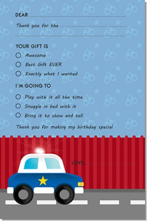 Police Car - Birthday Party Fill In Thank You Cards