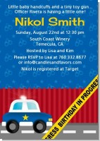 Police Car - Baby Shower Invitations