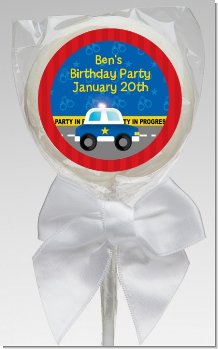Police Car - Personalized Birthday Party Lollipop Favors