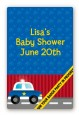 Police Car - Custom Large Rectangle Baby Shower Sticker/Labels thumbnail