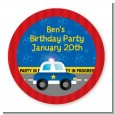 Police Car - Round Personalized Birthday Party Sticker Labels thumbnail
