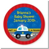Police Car - Round Personalized Baby Shower Sticker Labels