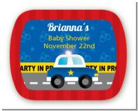Police Car - Personalized Baby Shower Rounded Corner Stickers