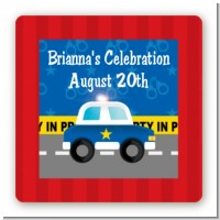 Police Car - Square Personalized Baby Shower Sticker Labels