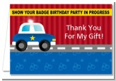 Police Car - Birthday Party Thank You Cards
