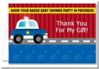 Police Car - Baby Shower Thank You Cards