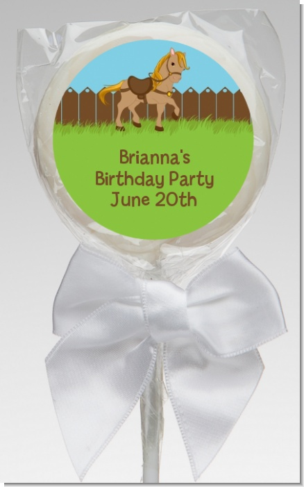 Pony Brown - Personalized Birthday Party Lollipop Favors