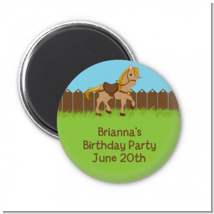 Pony Brown - Personalized Birthday Party Magnet Favors