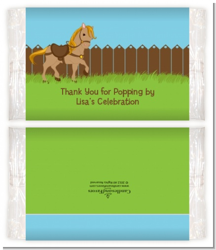 Pony Brown - Personalized Popcorn Wrapper Birthday Party Favors